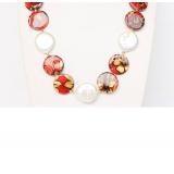 Perlový náhrdelník bílé jezerní coin perly 20mm a barvená perleť NJ9319