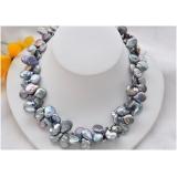 Perlový náhrdelník barokní jezerní černé duhové perly 15mm NB187