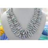 Perlový náhrdelník šedé duhové jezerní biwa perly 25mm NB188
