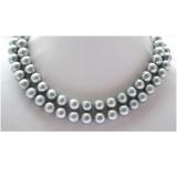 Perlový náhrdelník šedé duhové jezerní perly 12mm NB189