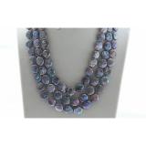 Perlový náhrdelník jezerní duhové černé coin perly 12mm NJ9511