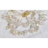 Perlový náhrdelník bílé jezerní perly reborn keshi 21mm NJ7841