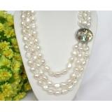 Perlový náhrdelník barokní bílé jezerní perly 13mm NJ7646