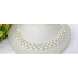 Perlový náhrdelník barokní bílé jezerní perly 8mm NJ7627