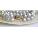 Perlový náramek pravé šedostříbrné jezerní perly 10mm, 2řady B122