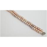 Perlový náramek jezerní růžové a levandulové perly 8mm B218