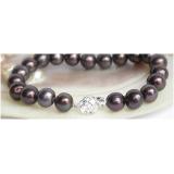 Perlový náramek černé jezerní perly 10mm B223