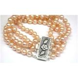 Perlový náramek jezerní růžové perly 8mm B255