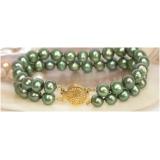 Perlový náramek zelené jezerní perly 9mm BJ6781