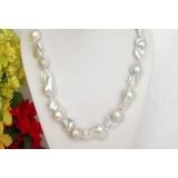 Perlový náhrdelník bílé jezerní perly reborn keshi 30mm NJ7790