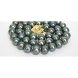 Perlový náhrdelník černé jezerní perly 10mm NJ6458