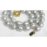 Perlový náhrdelník barokní šedostříbrné jezerní perly 12mm NJ7837
