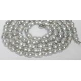 Perlový náhrdelník šedostříbrné barokní jezerní perly twins 17mm NJ7075