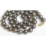 Perlový náhrdelník černé jezerní perly 9mm NJ7526