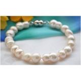 Perlový náramek jezerní bílé perly dvojčata 17mm BB039