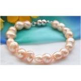Perlový náramek jezerní růžové perly 17mm BB040