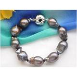 Perlový náramek barokní jezerní černé perly BB055