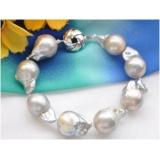 Perlový náramek jezerní barokní šedé perly 20mm BB056