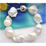 Perlový náramek jezerní barokní bílé perly 20cm BB058