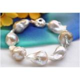 Perlový náramek barokní jezerní levandulové perly 20mm BB063