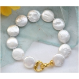 Perlový náramek jezerní bílé coin perly 14mm BB064