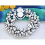 Perlový náramek jezerní šedé barokní perly, 4 řady BB066
