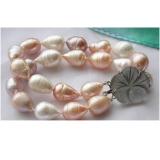 Perlový náramek jezerní barokní drip perly 15mm BB083