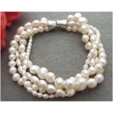 Perlový náramek jezerní bílé perly BB086