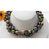 Perlový náhrdelník barokní jezerní barevné perly 13mm, 3 řady NB232