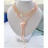 Perlový náhrdelník růžové a bílé jezerní perly  NB228