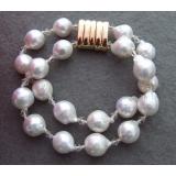 Perlový náramek jezerní barokní bílé perly 13mm BY005