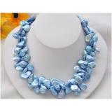 Perlový náhrdelník jezerní modré duhové coin perly 15mm NB187a