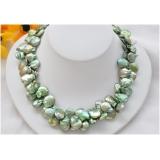 Perlový náhrdelník jezerní zelené duhové coin perly 15mm NB187d