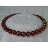 Perlový náhrdelník pravé čokoládové jezerní perly 10mm N1673