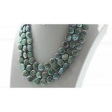 Perlový náhrdelník jezerní duhové zelené coin perly 12mm NJ9509