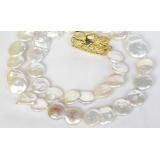 Perlový náhrdelník barokní bílé jezerní perly coin twinborn 22mm NJ7897