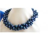 Perlový náhrdelník jezerní modré perly DB016