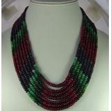 Náhrdelník přírodní smaragdy, safíry a rubíny DL062