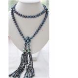 Perlový náhrdelník jezerní černé perly a perly shell EC032
