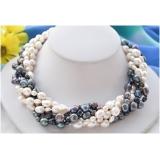 Perlový náhrdelník jezerní bílé a černé perly, 6 řad EC039