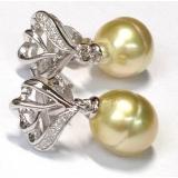 Perlové náušnice zlaté mořské south sea perly 11.7mm, ES015