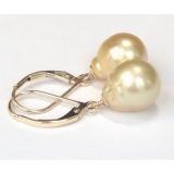 Perlové náušnice zlaté mořské south sea perly 11mm ES016