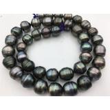 Perlový náhrdelník mořské černé duhové tahiti perly 11mm ES124