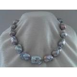 Perlový náhrdelník barokní jezerní šedé duhové perly 25mm YY059