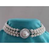 Perlový náhrdelník, obojek, choker, bílé jezerní perly + perla mabe DB009