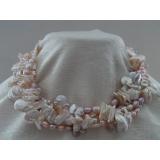 Perlový náhrdelník růžové, bílé a levandulové jezerní perly, 5 řad NB205
