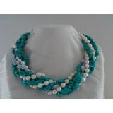 Perlový náhrdelník bílé mořské perly, tyrkys a chalcedon NB236