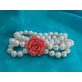 Perlový náramek jezerní bílé perly, 3 řady BB043