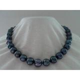 Perlový náhrdelník černé jezerní perly 15mm NJ9364