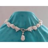 Perlový náhrdelník barokní jezerní bílé perly 28mm NJ9487